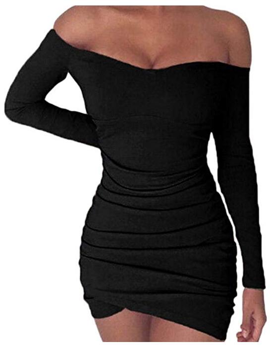 Vestido delgado Sensual Ajustado Apretado de Cuello Plisado de Barco de Manga Larga de Moda para Mujer Negro